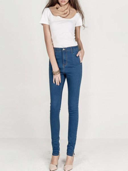 Light Blue Washed-silk Denim Tapered pants from #stylewe