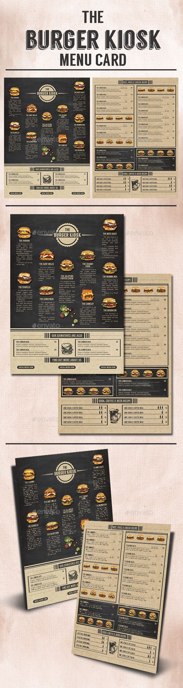 The Burger Kiosk Menu Template #design Download: http://graphicriver.net/item/the-burger-kiosk-menu/9813340?ref=ksioks
