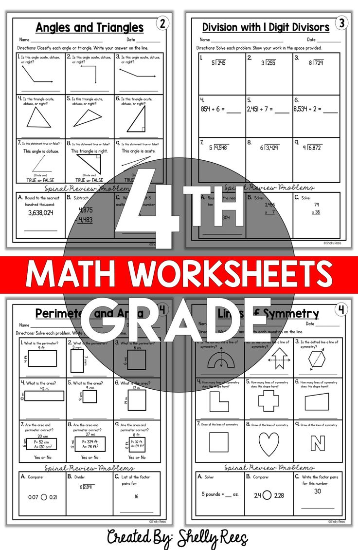 4th Grade Math Worksheets Free and Printable Appletastic