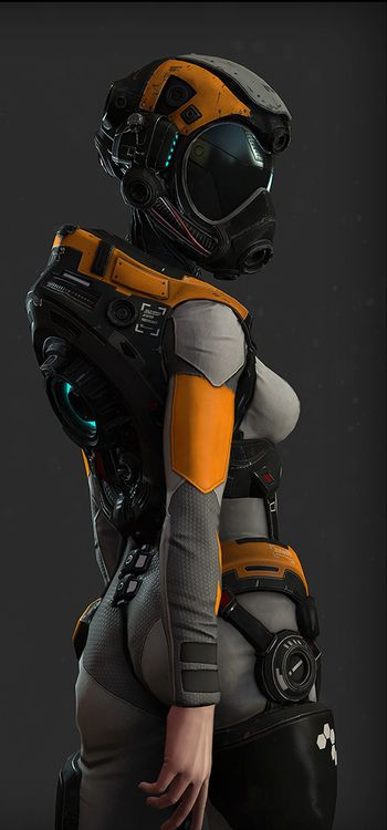 Pilot suit. Interface for intergrating with a jet/machine on the back. Sun visor and oxygen mask in helmet. Possible combat suit.