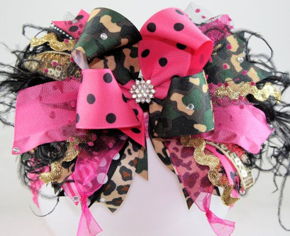 Camo and Hot pink Bling Over the Top Hair Bow with by sanchezc30, $21.99