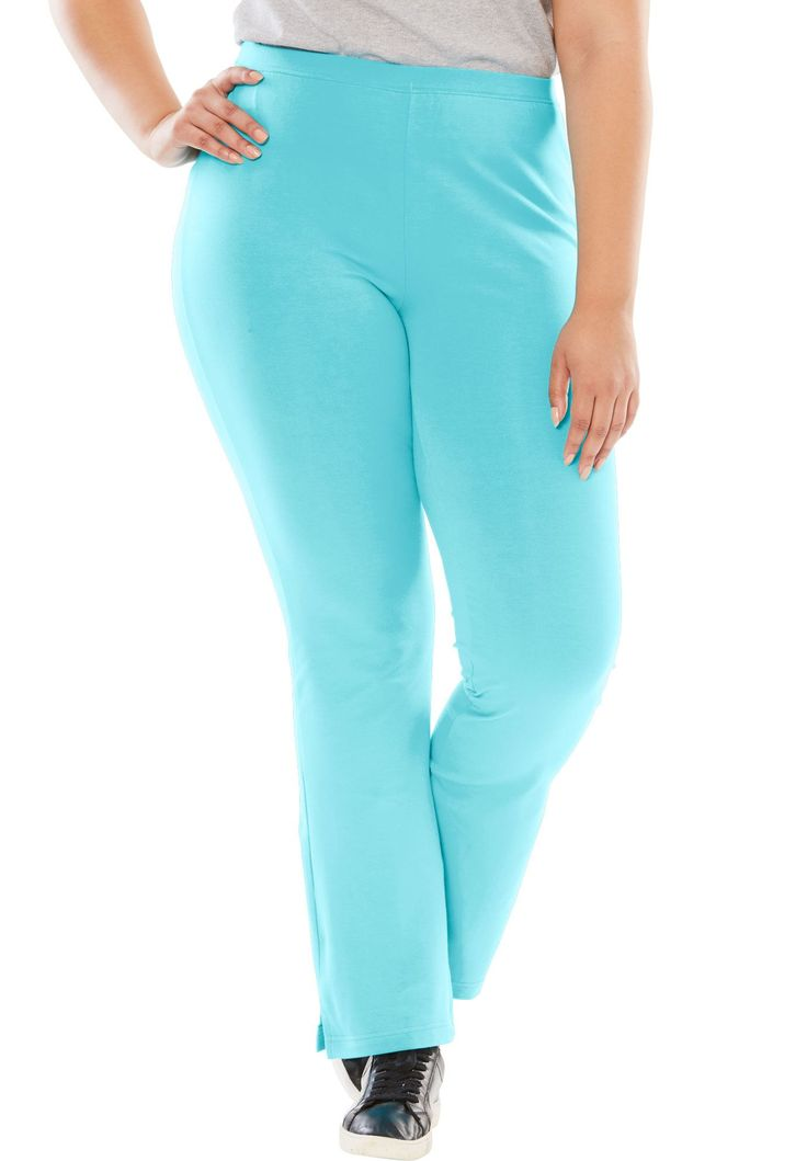 Tall pants, yoga bootcut knit with slim fit - Women's Plus Size Clothing