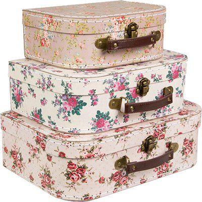 Juego 3 cajas de almacenamiento, diseño floral con forma de maletas estilo vintage #Juego #cajas #almacenamiento, #diseño #floral #forma #maletas #estilo #vintage