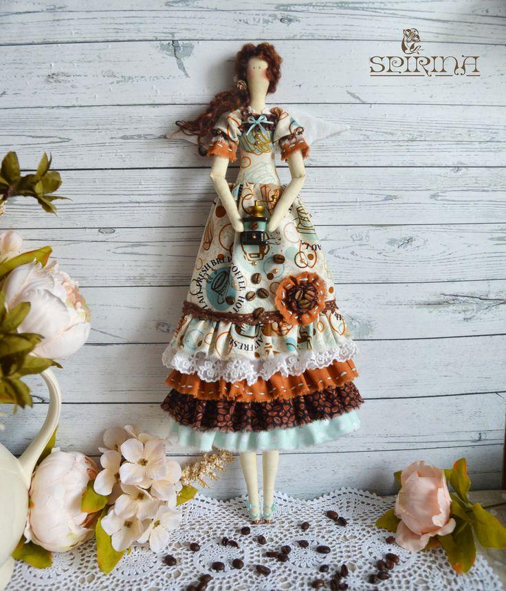 "Tilda Doll - Coffee Fairy Tilda - Tilda Dolls - Rag doll - Birthday gift - Gift for coffee lovers - Сoffee gift  Size: 44 cm (17"")"