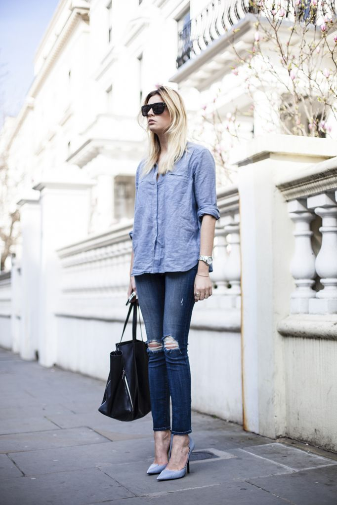 Jeans: J brand (more options here) || Shirt: Whistles || Tote: Celine || Pumps: Jimmy Choo