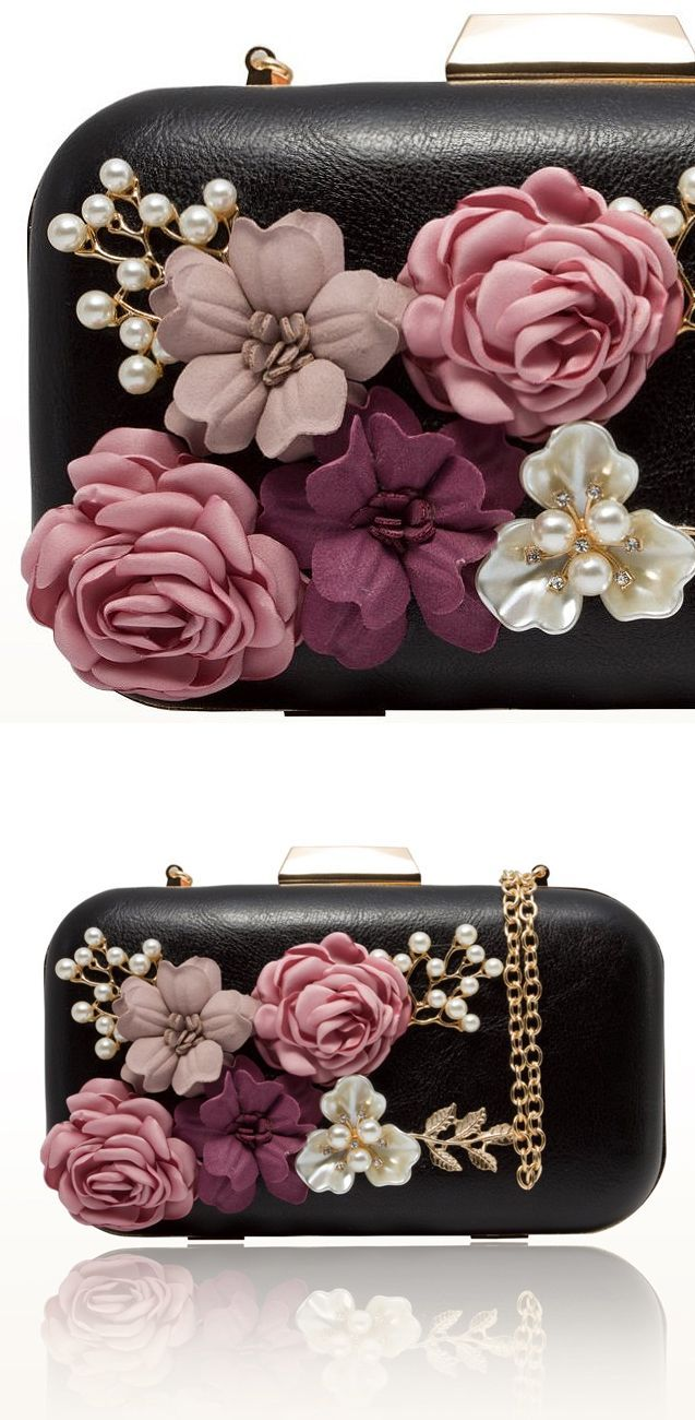 Leather Clutch Bag with 3D Leather Roses in Pinks. Black Bag with detachable strap. Outside the bag has roses decoration, as well as realistic pearls for Day at the Races or Mother of the Bride Wedding Outfit. Outfit Ideas and Inspiration. Spring Summer Wedding. Clutch Bag in Floral Design. #kentuckyderby #royalascot #springweddings #racingfashion #fashion #fashionista #handbags #affiliatelink #bags #clutchbag