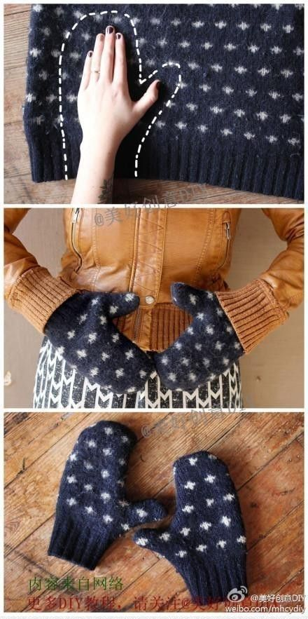 Diy Crafts Ideas : Recycle old sweaters by making easy mittens.