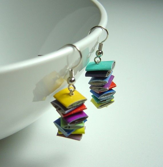 recycled magazine earrings