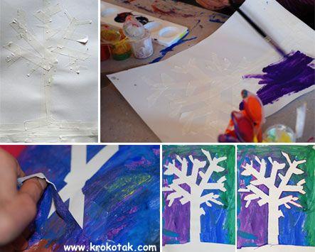 bomen plakken met tape, verven en daarna tape verwijderen