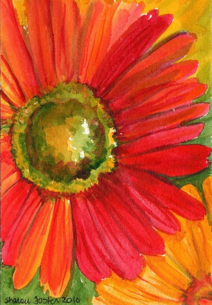 Close up -  Red Gerbera Daisy Painting: Gerbera Daisies, Art Paintings, Gerbera Daisy, Watercolor Flowers, Red Gerbera, Daisies Paintings, Colors Flowers, Bright Colors, Flowers Paintings