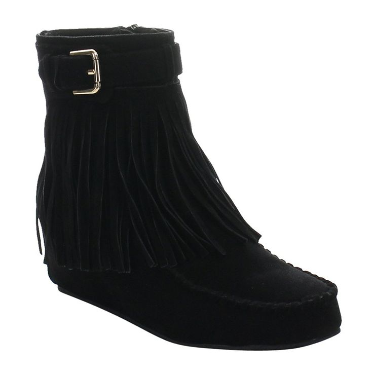 LILIANA ARTY-1 Women's Mocassin Hidden High Wedge Heel Firnge Ankle Booties * To view further for this item, visit the image link.