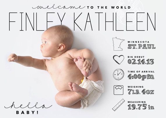 ©poppy-designs | custom designed infographic style baby announcement