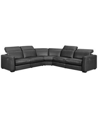 Nicolo 5-Piece Leather Reclining Sectional Sofa (2 Power Recliner Chairs, Power Recliner Armless Chair, Armless Chair and Corner Unit) | macys.com