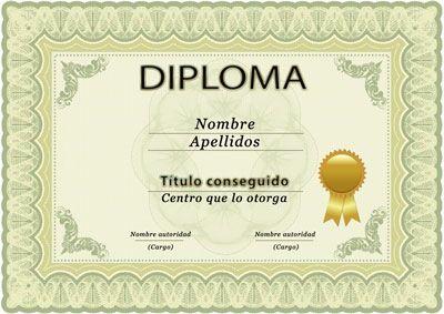Diploma para curso o estudios, plantilla PSD, horizontal
