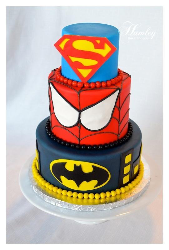 Superhero Cake  swap superman for iron man swap spiderman for cap'n america swap batman for Thor