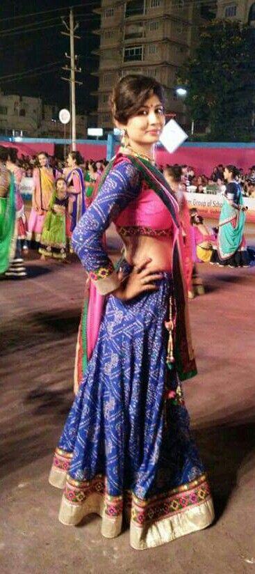 Blue bandhani chaniya choli - navratri - gorgeous girl