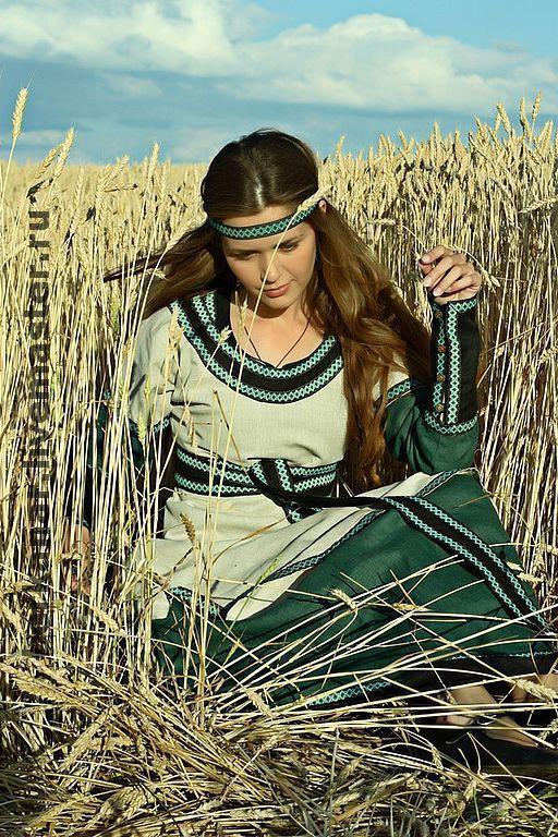 Купить Средневековая льняная туника с овертуникой - средневековое платье, платье из льна, летнее платье