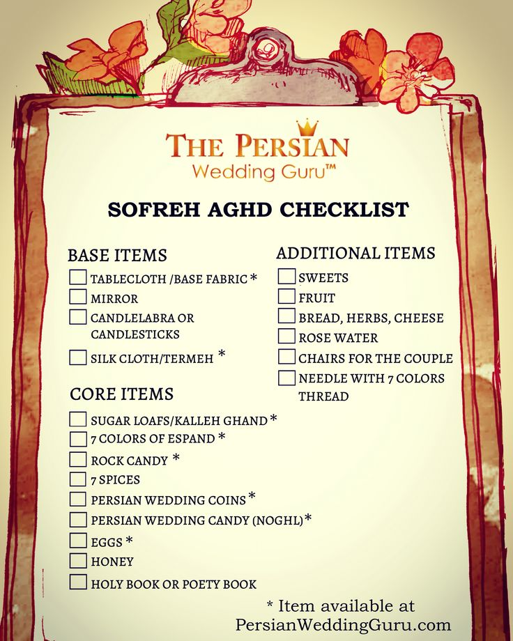 Persian Wedding Sofreh Aghd Checklist