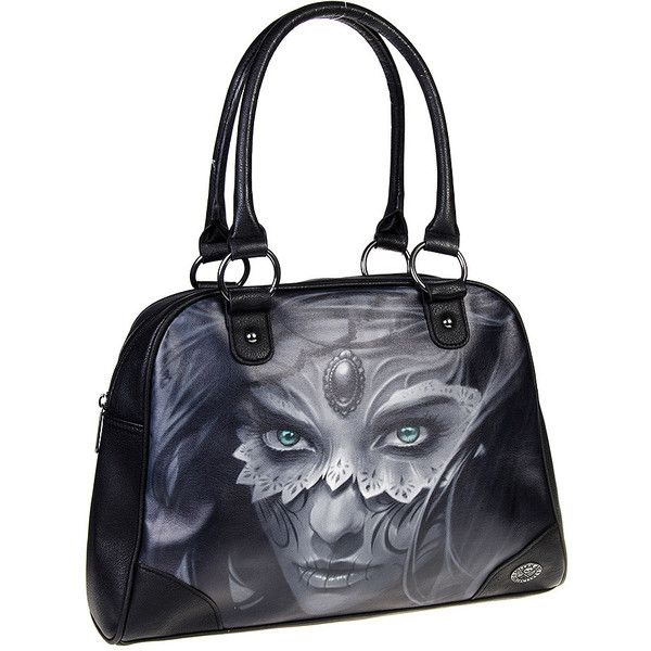 Sullen Angels Athena Bowling Bag (Black) ($72) ❤ liked on Polyvore featuring bags, handbags, tattoo purse, bowler purse, bowler handbags, bowler bag and bowling bags