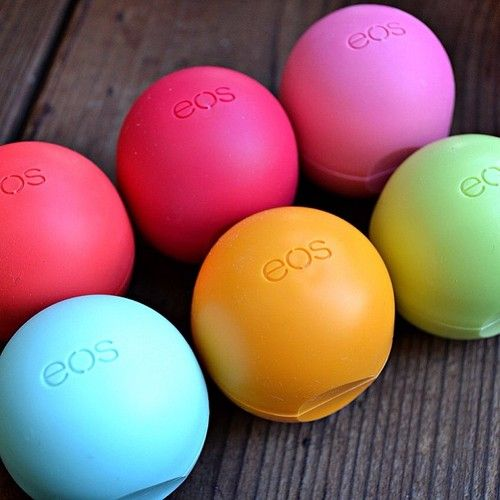 eos lip balm.  Why? Because it's thick, long lasting, a lot better for your lips than other balms, smells great, and it's pretty.