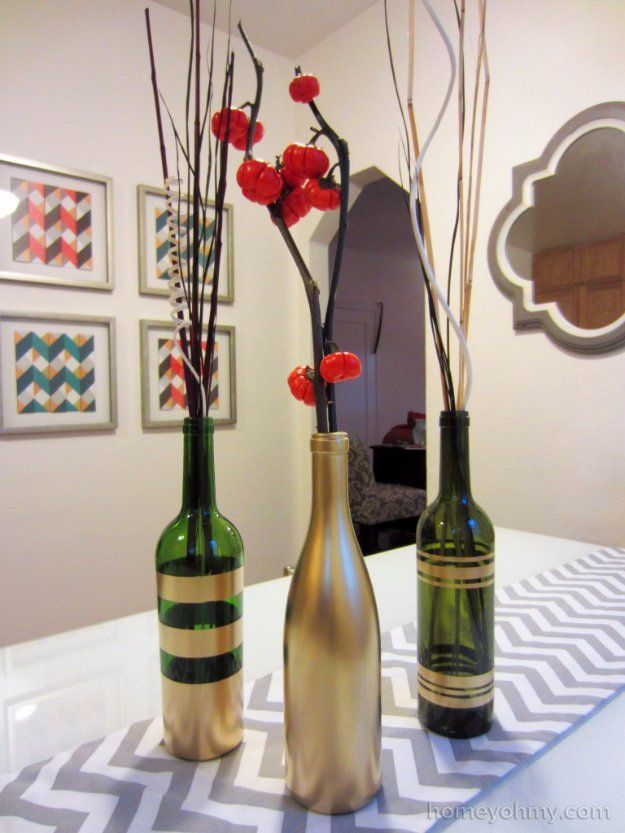 Wine Bottle DIY Crafts - Gold Painted Wine Bottle Vases - Projects for Lights, Decoration, Gift Ideas, Wedding, Christmas. Easy Cut Glass Ideas for Home Decor on Pinterest http://diyjoy.com/wine-bottle-crafts