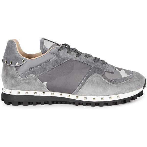 Valentino Studded camouflage trainers (860 CAD) ❤ liked on Polyvore featuring men's fashion, men's shoes, men's sneakers, valentino mens shoes, mens lace up shoes, mens camo sneakers, mens studded sneakers and valentino mens sneakers