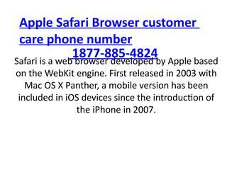 Apple Safari Browser toll free Phone number USA 1877-885-4824