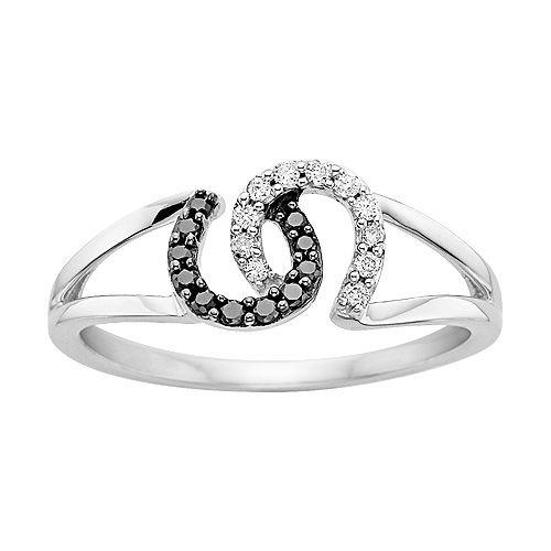 Black and white diamond horseshoes ring.