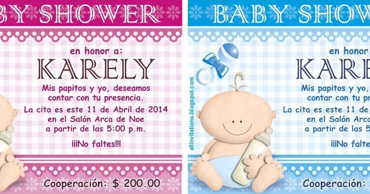 Bonita Invitación de Baby Shower como tema tiene un bebe sosteniendo un biberón, aquí te dejamos las plantillas  tanto para niño compara niña