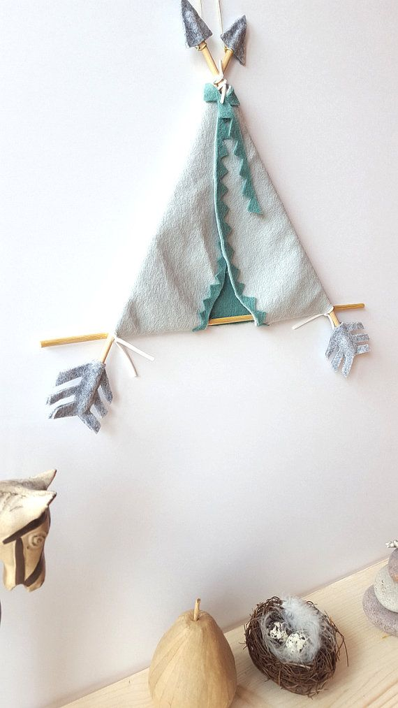 Felt teepee wall art tribal nursery arrow teepee tribal by mellsva