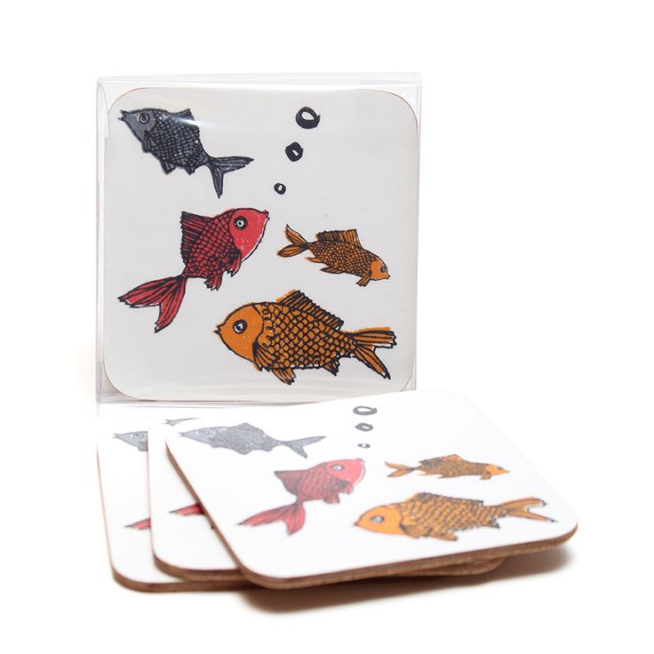 Set of 4 lovely cork-backed Forgetful Fish coasters by Charlotte Farmer.  set of 4 10cm x 10cm wipe clean with a damp cloth. Available from www.newhousetextiles.co.uk