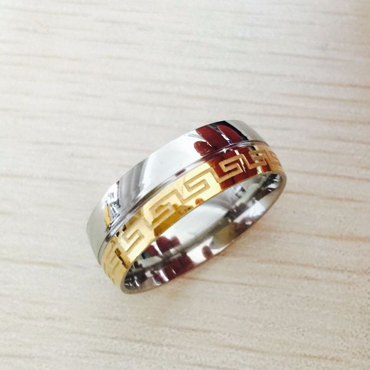 Besteel Mens Stainless Steel Band Ring Engraved Greek Key Vintage Wedding 8mm gold silver filled Size 6-14 free shipping