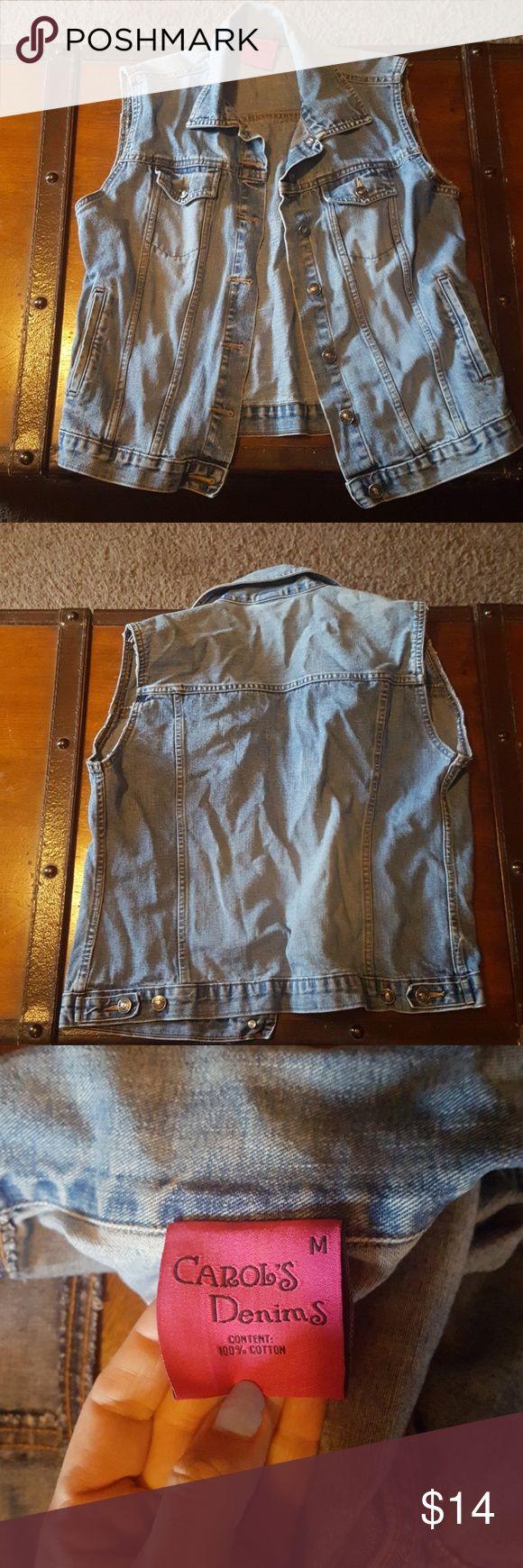 Blue jean jacket Sleeveless blue jean jacket very cute never been worn it is not a coat carols Jackets & Coats Jean Jackets