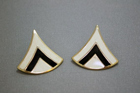 Vintage Geometric Earrings Triangle in Black White and Gold Studs by IntoTheWardrobe, $5.00