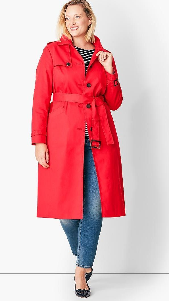 Plus Size Red Trench Coat | style | Coat, Red trench coat, Plus size ...