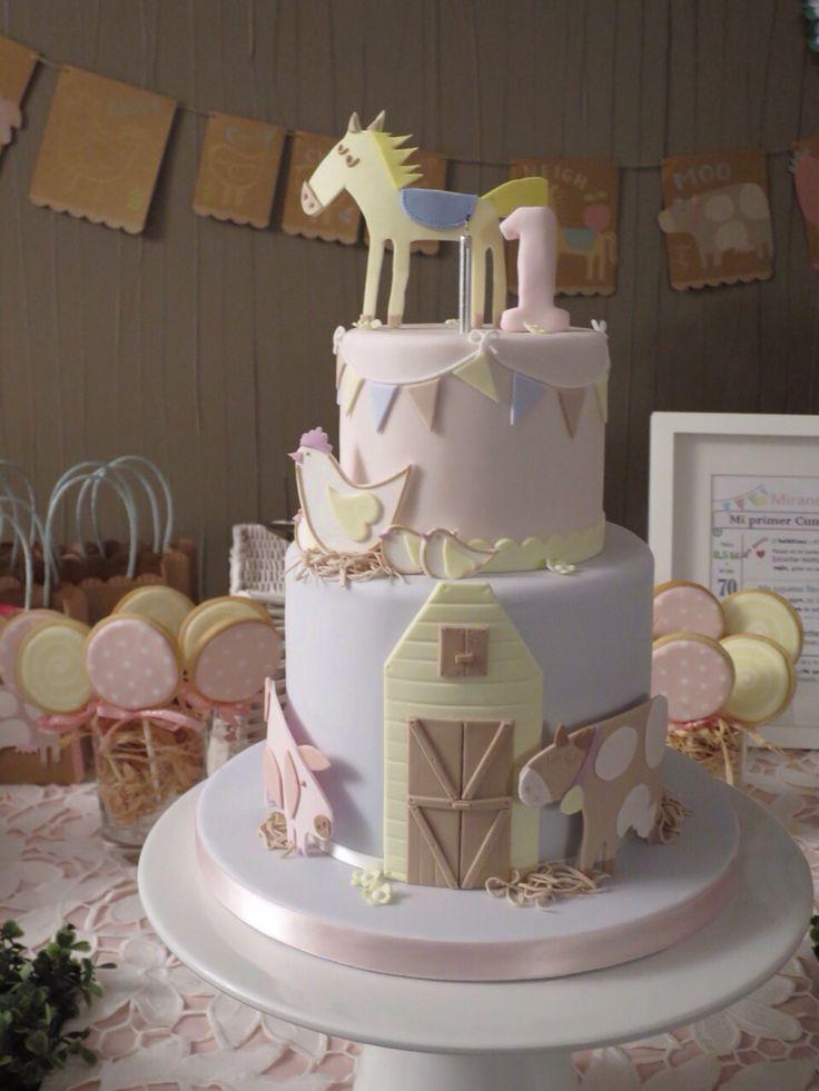 The happy little farm first birthday cake for Miranda