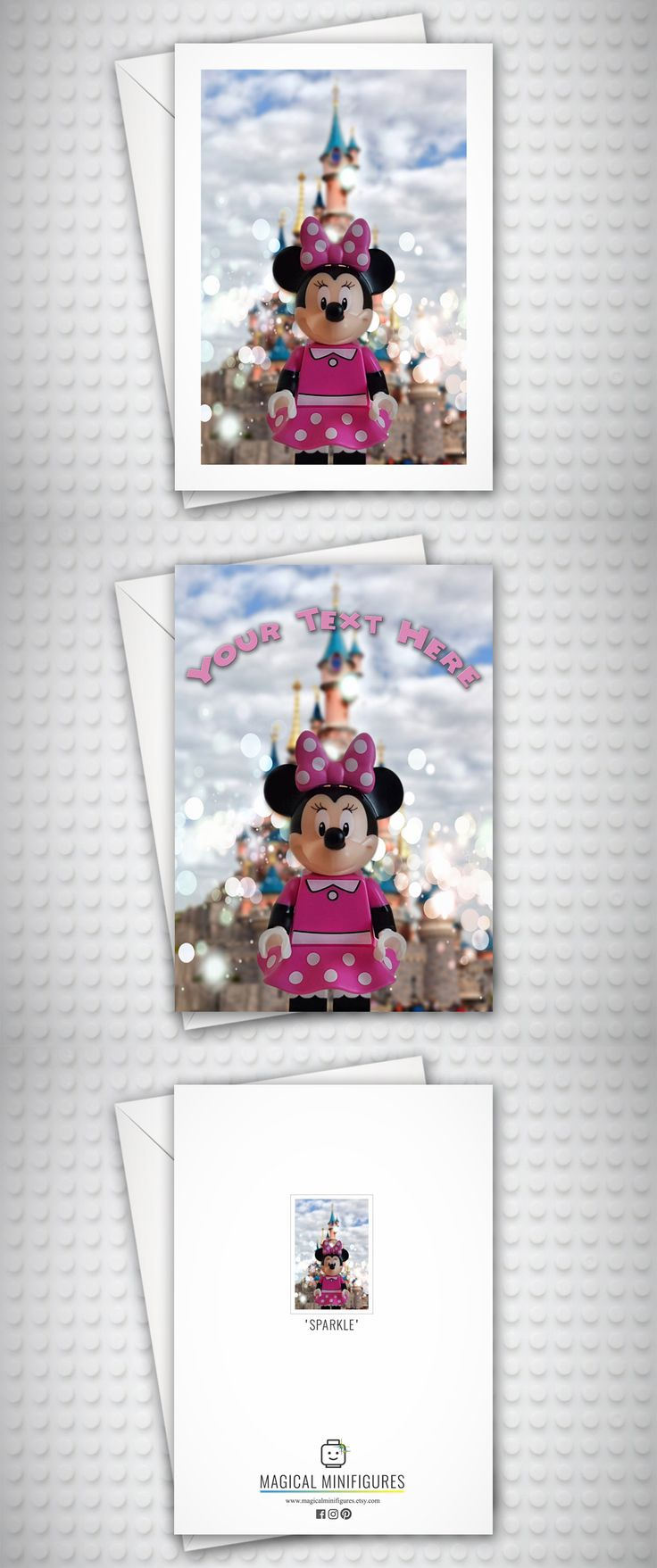 Minnie Mouse - Disney - Birthday Card - Disneyland Paris - Personalised Card - Lego Minifigure - Thank You Card