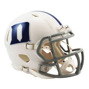 NCAA Duke Blue Devils Speed Mini Helmet by Riddell. $23.95. None. The Speed Mini Helmet is a half-scale replica of one of the most popular new helmet introductions in Riddell's history.. The most popular collectible in history is now available in the New Speed Helmet design.. Ideal for autographs.. Official colors and decals. Includes interior padding and a 4-point chin strap.. The New Riddell Duke Blue Devils Speed Replica Mini Helmet.