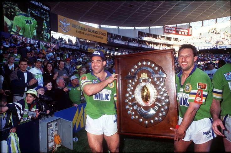 1994 Grand Final - Canberra Raiders Mal Meninga and Laurie Daley after the 1994 Grand Final. Two club legends who will face off as State of Origin coaches in 2013.