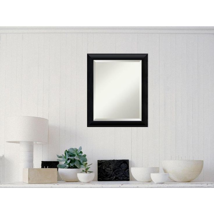 Nero Black Wood 19 in. W x 23 in. H Contemporary Framed Mirror