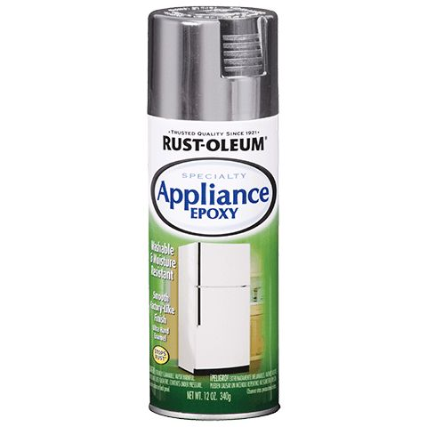 Rust-Oleum Appliance Epoxy https://www.rustoleum.com/product-catalog/consumer-brands/specialty/appliance-epoxy-spray/  I wish there was a low-VOC version - I'd love to turn our dirty white trash can into a grunge-hiding BLACK trash can.