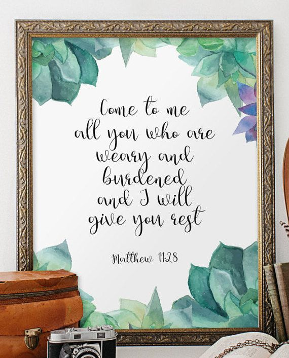 Christian poster Matthew 11:28 Scripture art by TwoBrushesDesigns