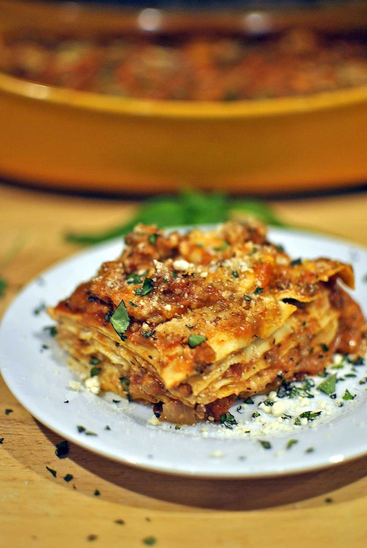 5-Layer Spicy Oven Ready Lasagna Recipe combines turkey sausage, lean ground beef, three cheeses & fresh herbs in a signature dish that's a family favorite by Becky's Best Bites
