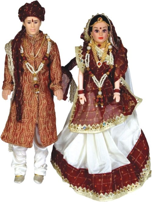 Gujarathi Bride and Groom Indian Cultural DOlls