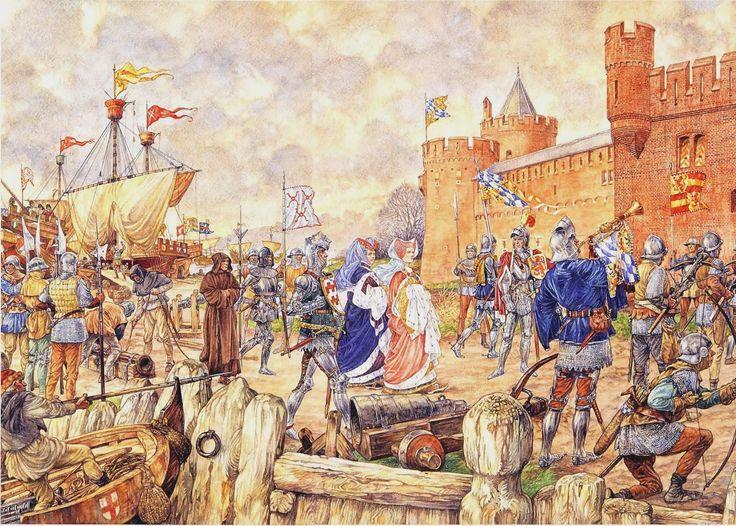 #Jacoba van #Beieren belegert #Gorcum in 1417   #Schoolplaat #Isings