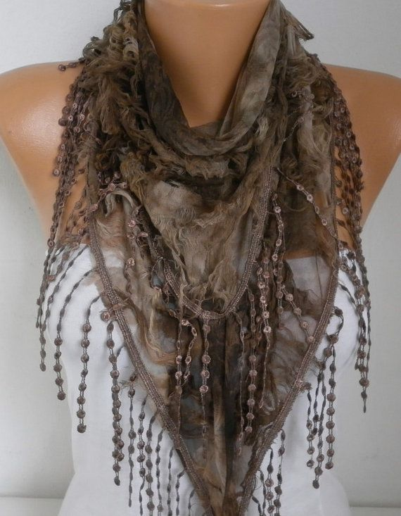 Brown Ombre Butterfly Scarf Spring Summer Scarf Mother's