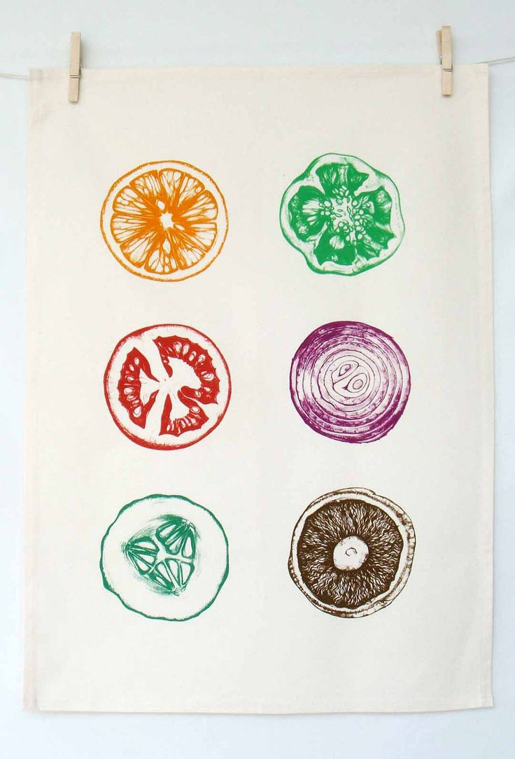 Hand Printed Tea Towel. $18.00, via Etsy.