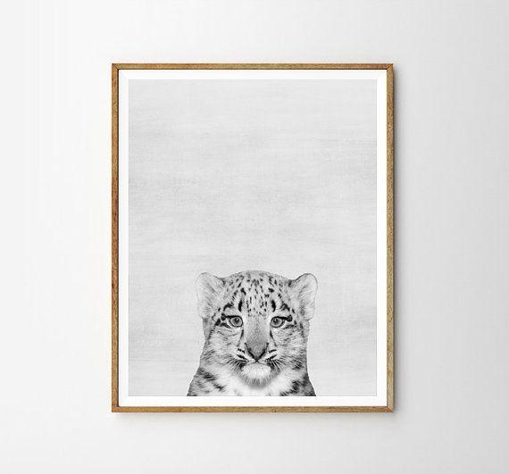 Baby leopard Leopard Nursery decor Animal Kids by WallArt2Decor