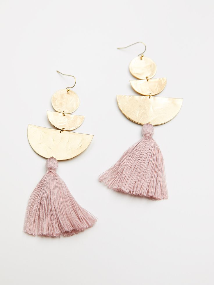 Bryce Canyon Tassel Earrings   Statement earrings brass geometric shapes with a delicate cotton tassel accent.    * Hook closure   * American made