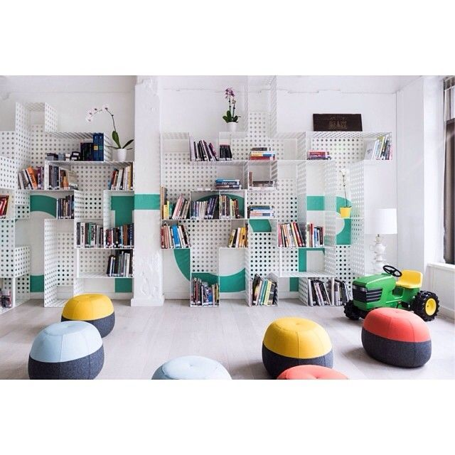 Interior of Tractor Design School by Techne Architects featuring our Puku Ottomans